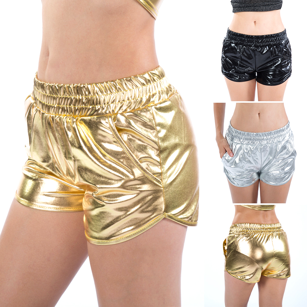 Plus Size Women Shinny Metallic Shorts Silver Summer  Rave Booty Shorts Holographic Elastic Waist PU Shiny Sexy Women Shorts