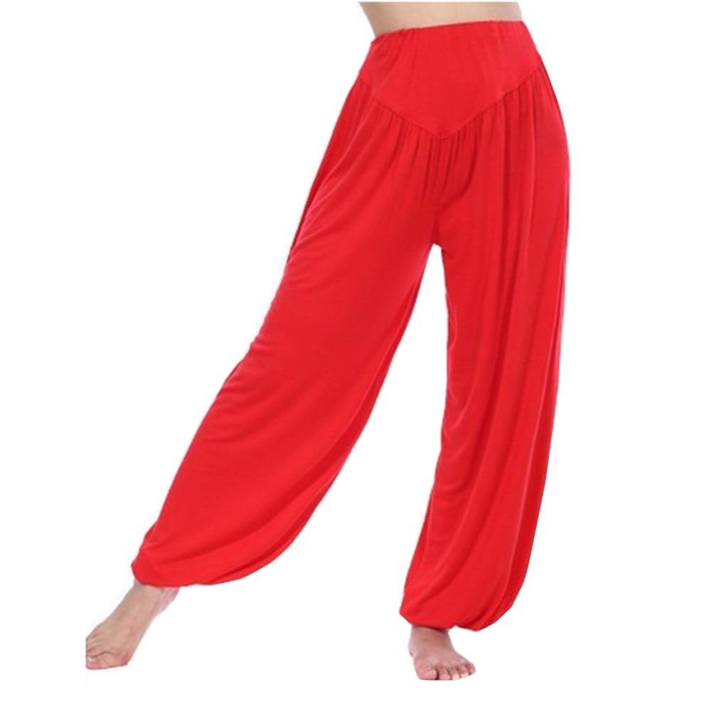 2017 Women <font><b>Casual</b></font> Loose Soft <font><b>Comfy</b></font> Exercise Bloomers Dance TaiChi Leggings Pants Plus Size S-3XL Pink Red Black Gray White