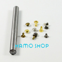 100pcs/lot 6mm Mix Color Free Shipping Metal Fashion Flat Circle Rivet Spike Studs With Tool Leather Clothing Decoration