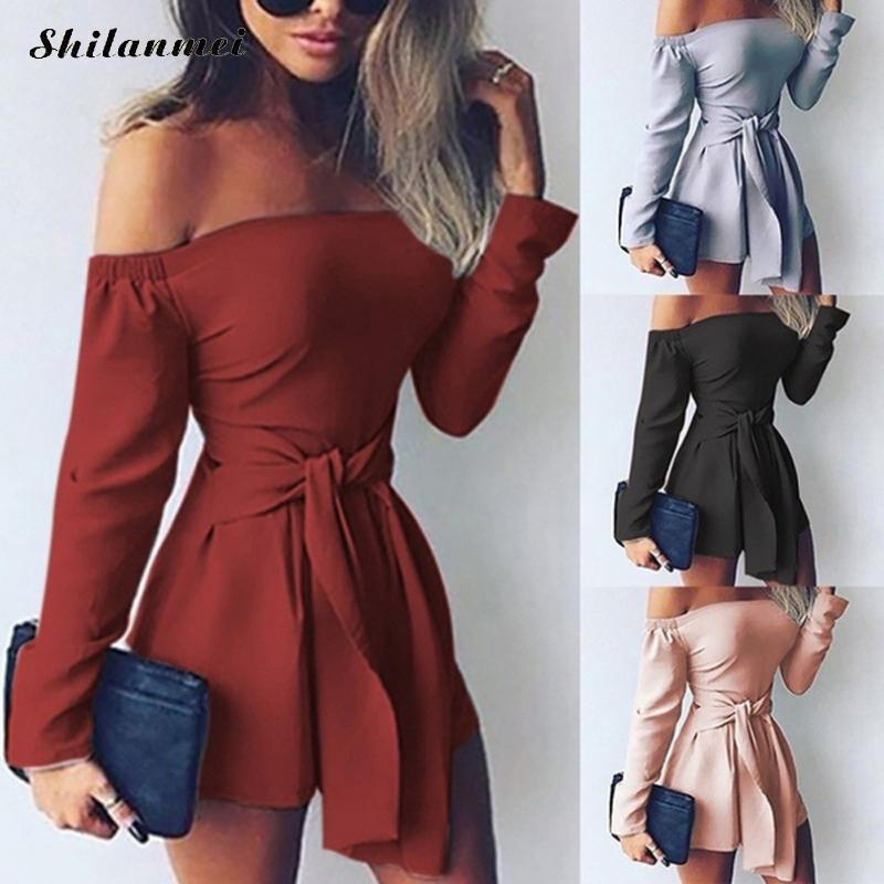 Fashion Sexy Off Shoulder   Jumpsuits   Women Rompers Summer Long Sleeve Bandage Party Short Playsuits Plus Size Ladies Overalls