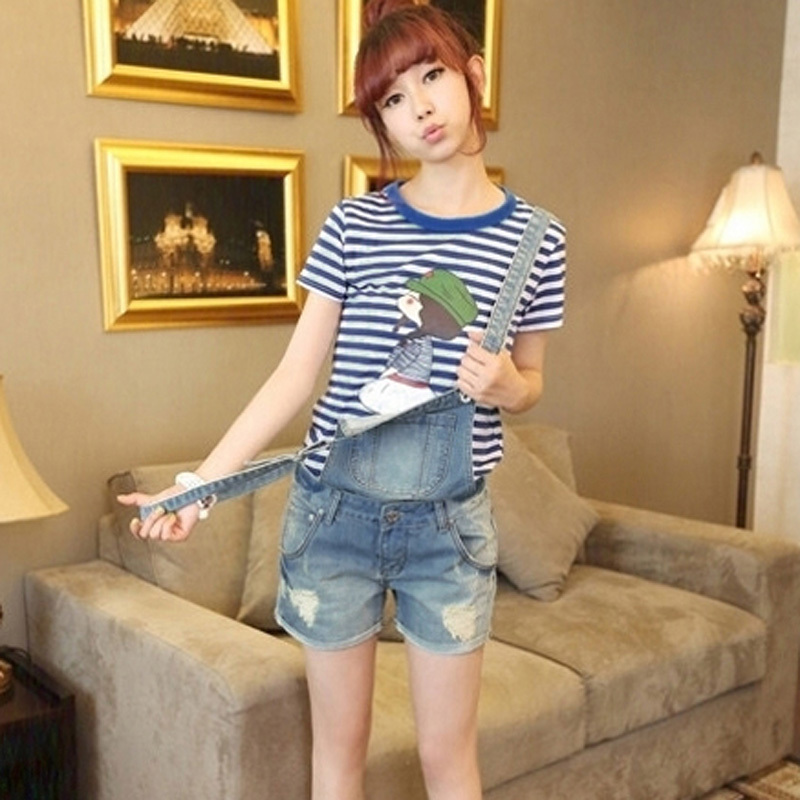 New Women Girls Casual Vintage Wash Denim Overall Suspender Jean Trousers Pants Boyfriend style denim Shorts Frayed ripped hole women casual vintage wash straight leg loose fat girls trousers pants denim overall suspender jeans