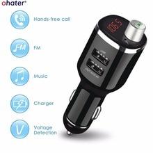 Modulador kit Mãos Livres Bluetooth Car Kit Transmissor FM Aux Car Audio MP3 Player com 2.4A Carga Dupla USB Carregador de Carro