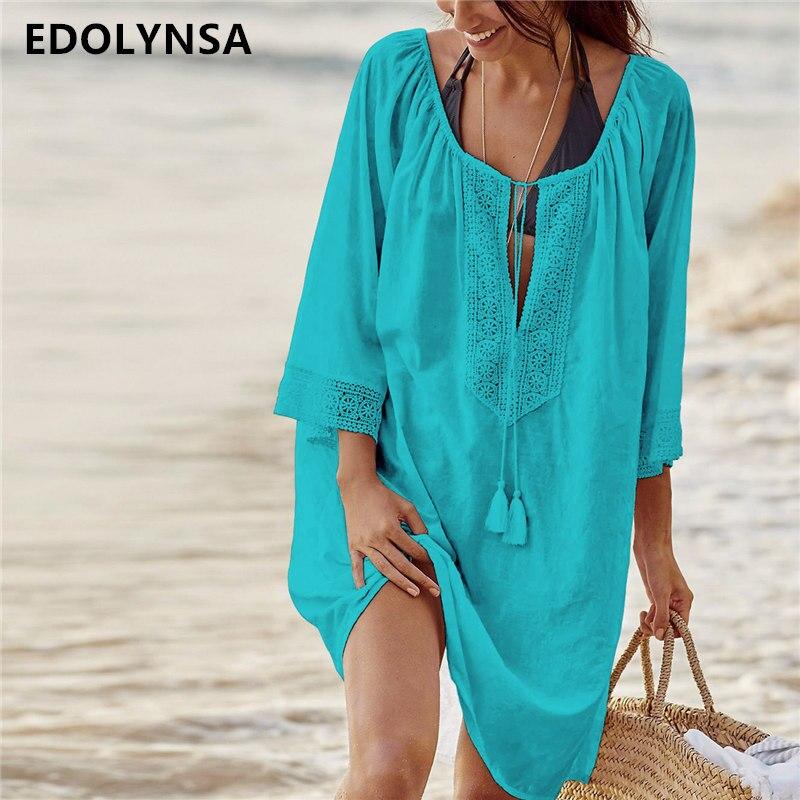 aa473140ed8a8 2019 Cotton Tunics for Beach Women Swimsuit Cover up Woman Swimwear Beach  Cover up Beachwear Pareo Beach Dress Saida de Praia-in Cover-Ups from  Sports ...