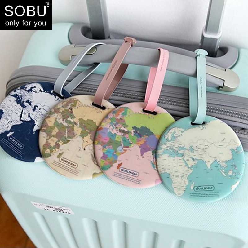 Fashion Map Luggage Tag Women Travel Accessories Silica Gel Suitcase ID Address Holder Baggage Boarding Tag Portable Label N083