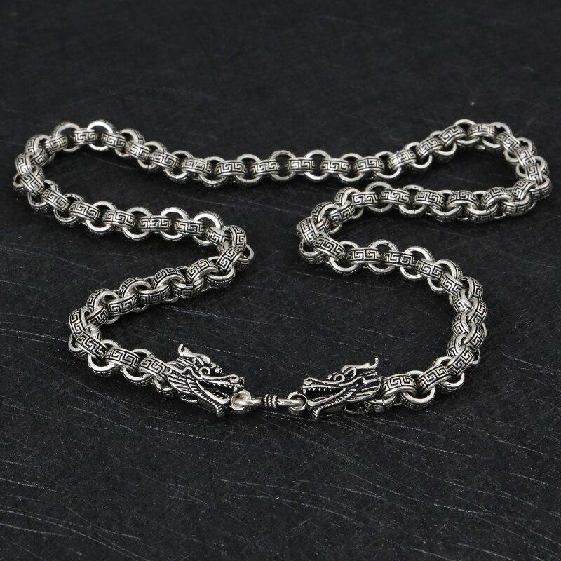 Mode homme 925 colliers en argent Sterling Vintage Style chinois Dragon forme lien chaîne colliers créatif mâle bijoux en argent