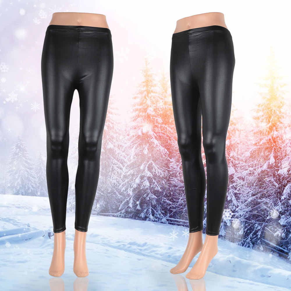 bd6e32c6f3c181 Women Skinny Slim Leggings Breathable Matte Black Sexy Faux Leather  Leggings Pants Elastic Legging Pants Women