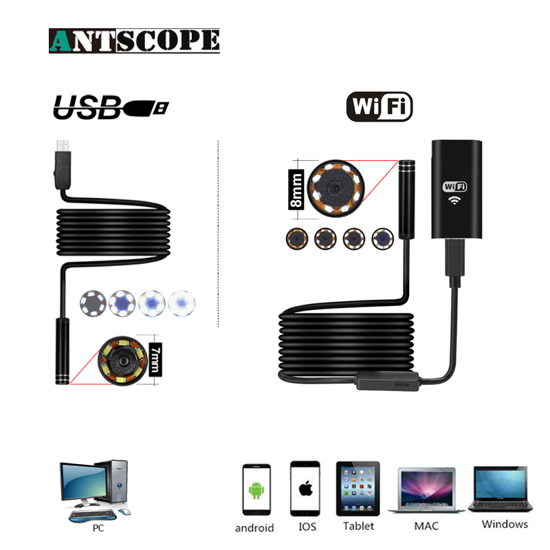 Wifi Endoscope HD Caméra pour Android iPhone 8mm 2 5 7 10 m Softwire USB Endoscope 7mm 2 m Pipe Inspection Caméra Étanche 19