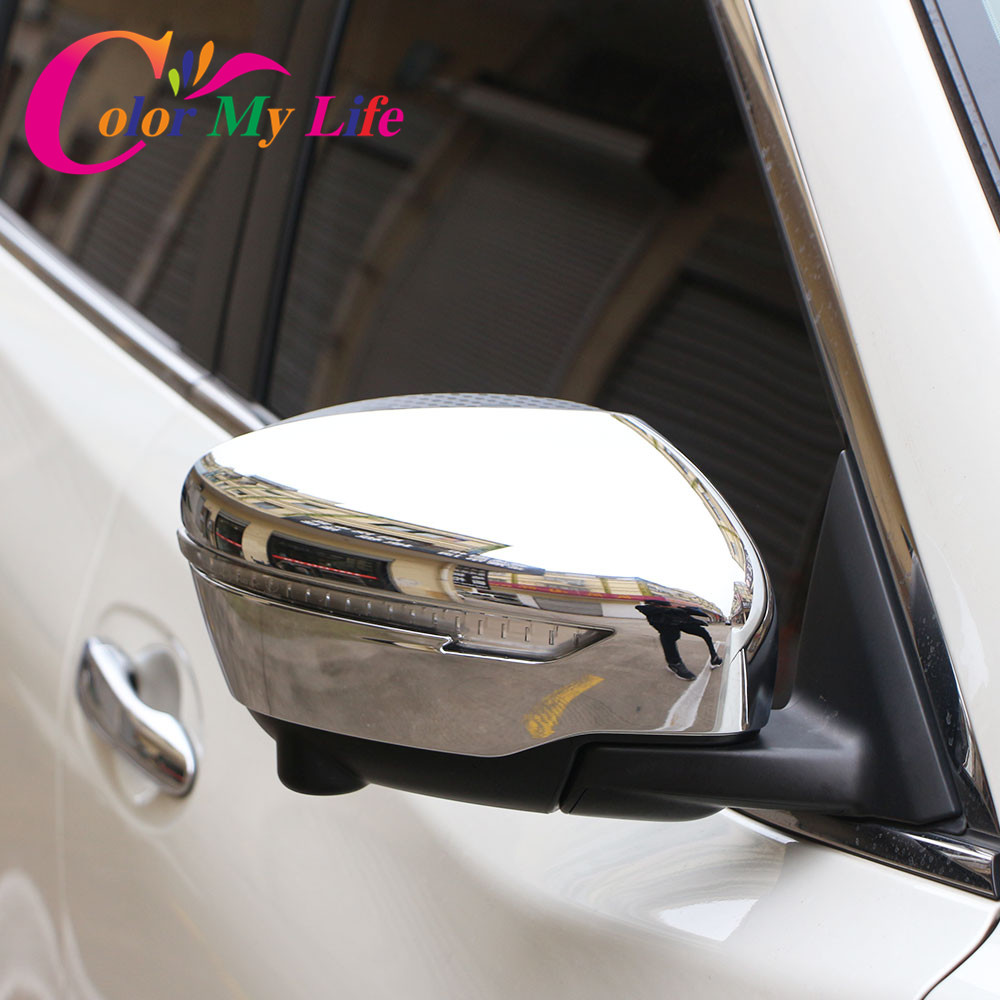 Color My Life ABS Chrome Rearview Mirror Cover Rear View Mirror Sticker For Nissan Qashqai J11 X-trail T32 For Murano 2015 2016