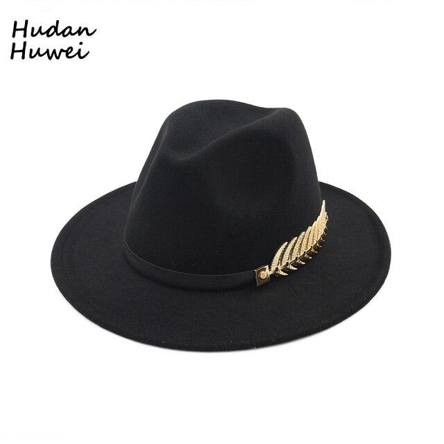 257ec9d02ed3f British Retro Jazz Cap Women Men Formal Party Trilby Hat Trend Flat Brim  Wool Felt Fedoras Hat with Belt Metal Decoration