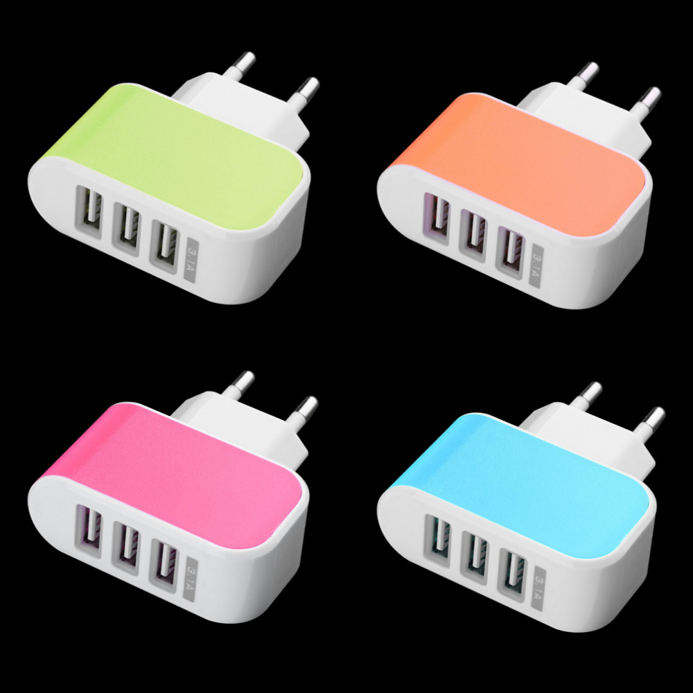 Triple USB Port Wall Home Travel AC Power Charger Adapter 3.1A EU Pl NQ