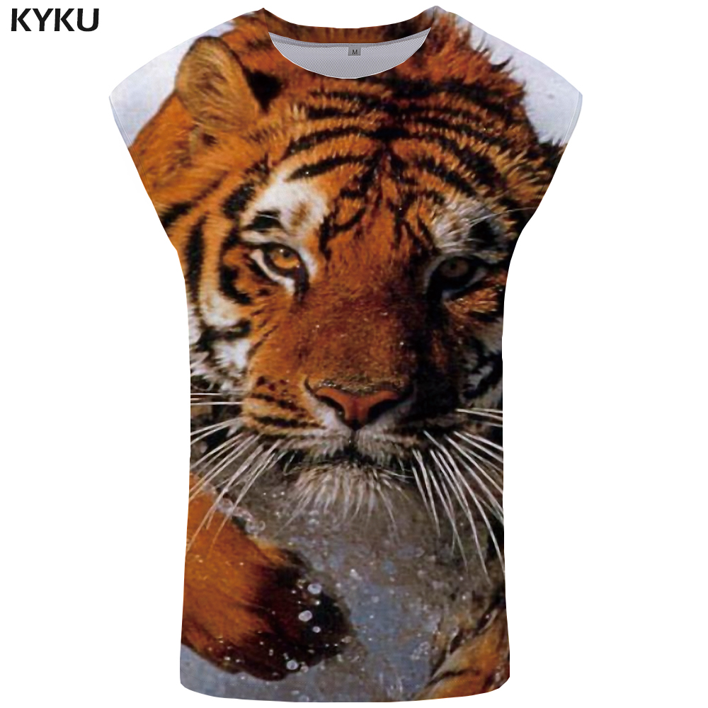 KYKU Tiger   Tank     Top   Men Animal Stringer Sunlight Vest 3D Print Singlet Mens clothing Bodybuilding Undershirt Sleeveless Shirt