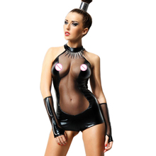 Dream Vine Sexy Bodysuit for Women Black Leather Sleeveless Backless Playsuits Exotic