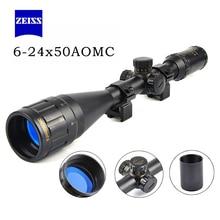 Zeiss 6-24X50 Золотая маркировочная оптика Riflescope красный и зеленый Retical волокно оптический вид Сфера винтовка Охота области