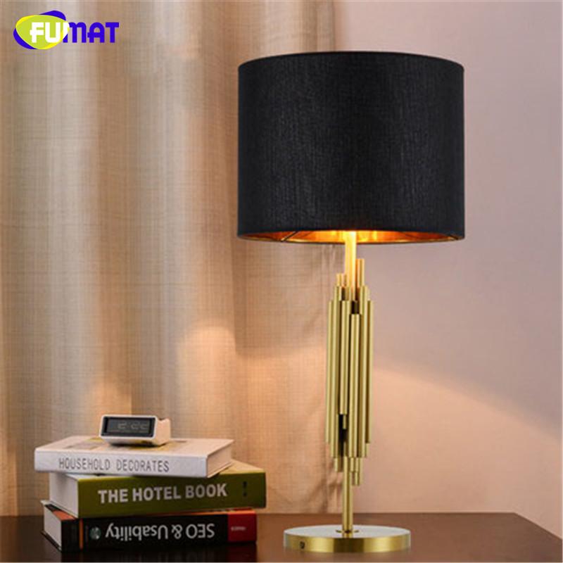 FUMAT Luxus Neben Lampen Pinsel Gold Tischlampen Bro Wohnzimmer Studie Tischleuchte Moderne Kunst Klassische Stoff Tischlampe
