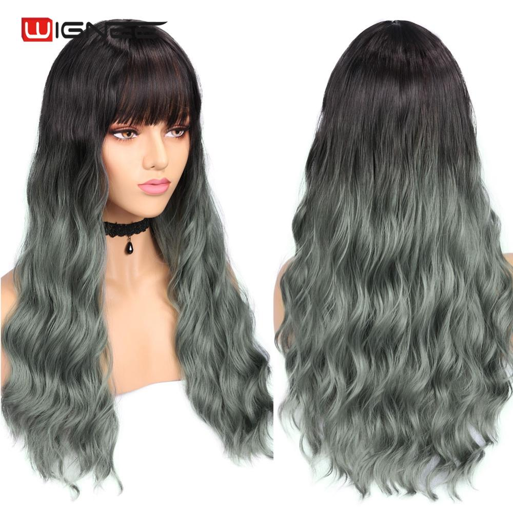 Wignee High Density Natural Wave Synthetic Wigs for Women Long Curly Hair Mix Green/Grey Wig with Bangs