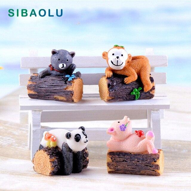 Tree Stump Monkey Pig Panda Cat Miniature Figurine Cartoon Animals Home Decor Decoration Cake mini fairy garden ornament toy