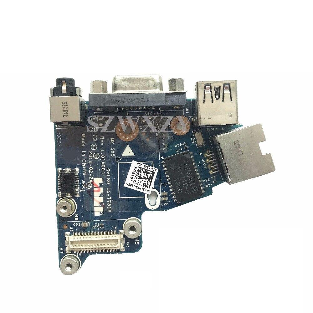 Dell Latitude E6430 Audio Jack VGA USB Port Ethernet Lan Board LS-7781P