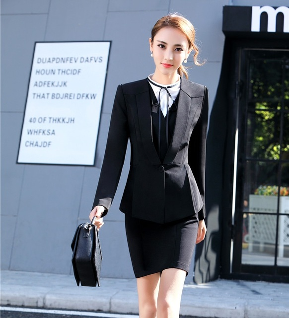 Formal Black Blazer Women Business Suits Formal Office Suits Work ...