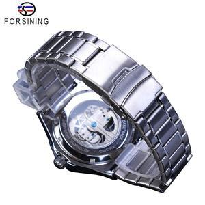 Image 5 - Forsining Ponte de Ouro Relógio Mecânico Dos Homens Mão Azul Caso Presente do Amante Da Moda Cinta de Aço Inoxidável Relógio Automático Transparente