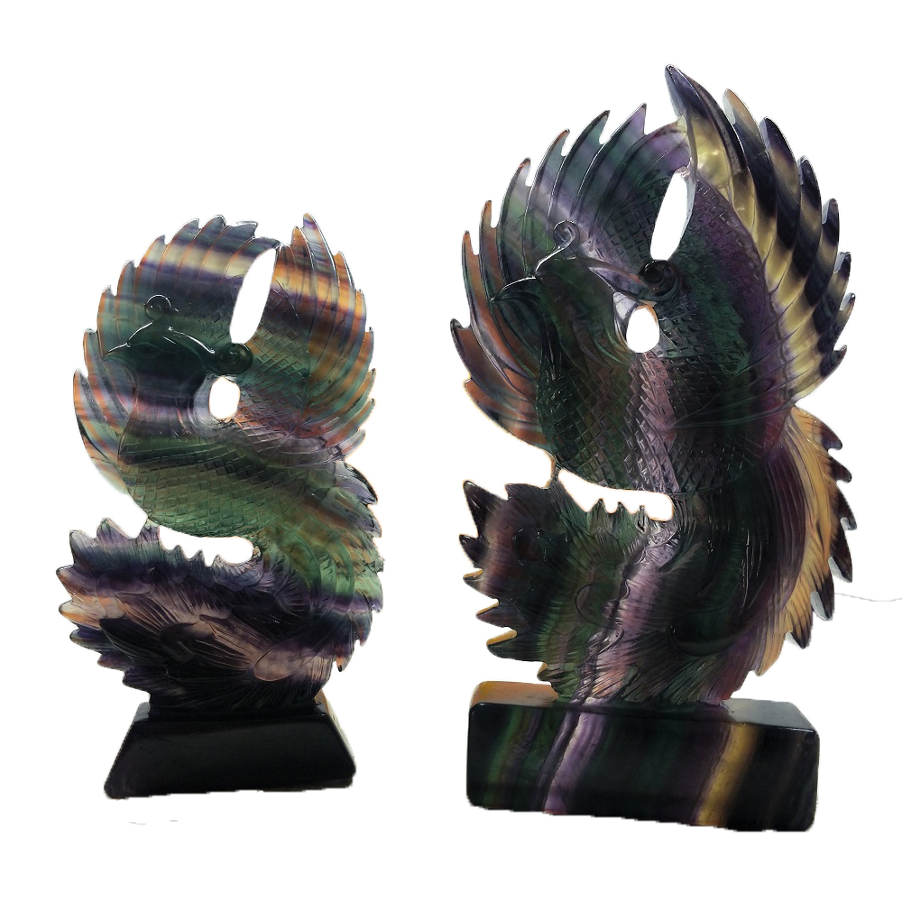 Quality Goods Natural Rainbow Fluorite Phoenix Crystal Figurine Carved Quartz Statue Healing Reiki Meditation Home DecorationQuality Goods Natural Rainbow Fluorite Phoenix Crystal Figurine Carved Quartz Statue Healing Reiki Meditation Home Decoration