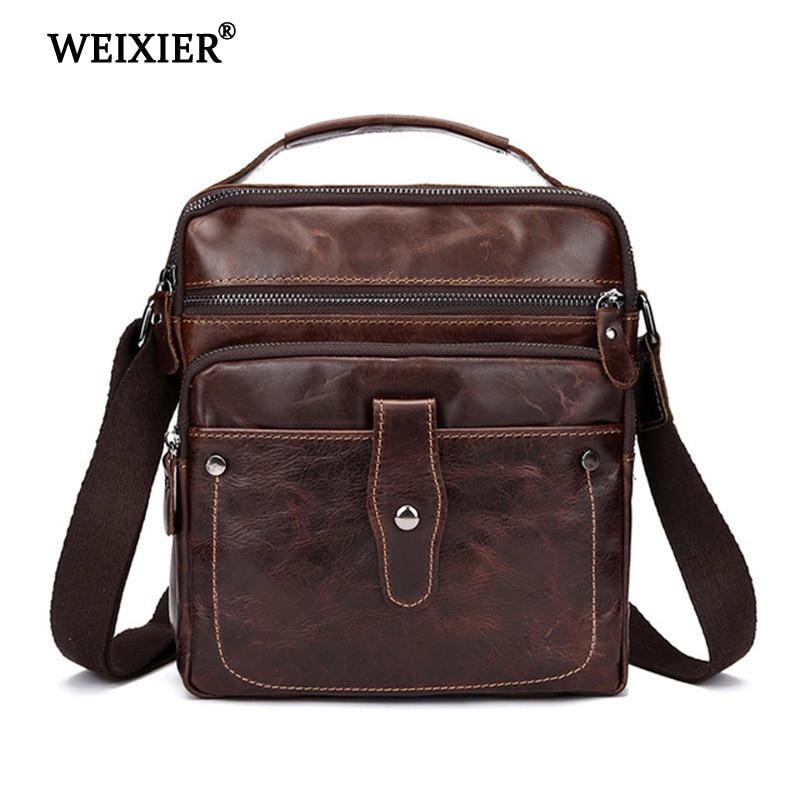 WEIXIER Genuine Leather Business Mens Messenger Bag Crossbody Men Slim Male Shoulder Travel