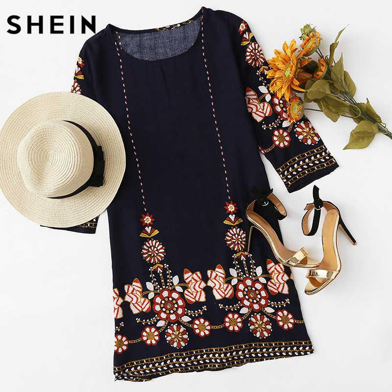 fb001932aa3d1 ... SHEIN Flower Print Flowy Dress Autumn Boho Dress Ladies Navy Three  Quarter Length Sleeve A Line