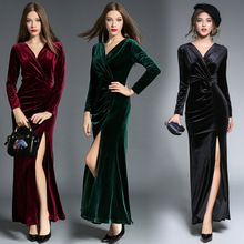 High Quaity Euro America Fashion Autumn and winter new style elegant Pleat Fork Drag down dress velvet ceremonial robe