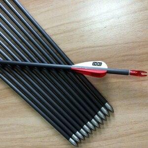 Image 4 - 12 шт. стрела для стрельбы из лука из чистого углерода V3 spine350 900 30 дюймов ID 4,2 мм Стрелы Вал аксессуары для изогнутого соединения Лук Охота