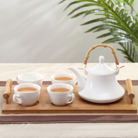 Chinese pastoral style flower teapot set 1 kettle 4 cups 1 bamboo tray creative kettle Simple home heat resistant tea set