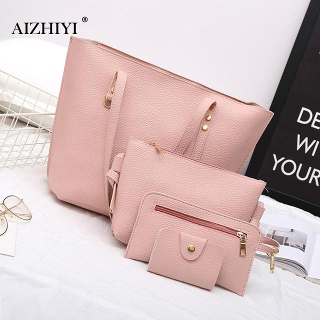 4Pcs Set Women Bag High Quality Female Solid Tote Bag PU Leather Composite Bags  Women 0fa38a9cc4