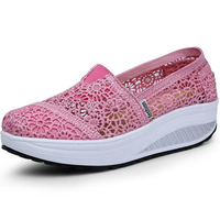 Summer Women Shoes Casual Cutouts Lace Canvas Wedges Shoes Hollow Floral Breathable Platform Flat With Shoes feminino