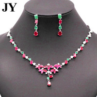 JY New Nuxury Dignified Red Green Stone Jewelry Sets For Women Vintage Necklace Earrings For Anniversary