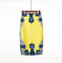 a254226b54930b Blue Pattern Printi Pencil High Waist Skirts Vintage Elegant Print  Knee-Length Flower Skirt Women Summer Yellow Skirts YHQ-13