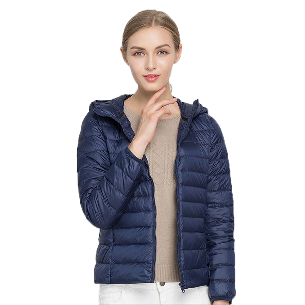 TIARAKA 2019 Hooded 90% White Duck Jacket Autumn Winter 12 Colors New Warm Slim Zipper Women Fashion Light   Down     Coat   S-3XL