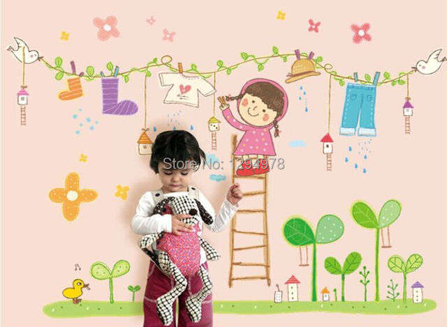 Cartoon Little Girl Clothesline Wall Stickers Kids Bedroom wall ...