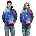 Горячая! мужчины и женщины clothing мода новый комфортабельный отдых простой цифровой печати с капюшоном флис звезды большой ярдов