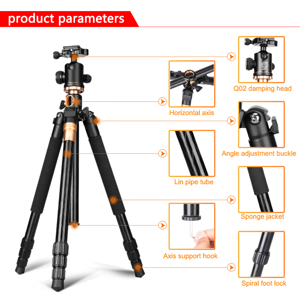 Image 2 - SAMTIAN Professional Portable Camera Tripod 61 inch Portable Travel Trip System Horizontal Tripod for Canon Nikon Sony DSLR SLR-in Tripods from Consumer Electronics