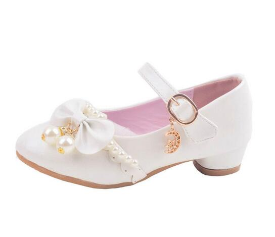 Весной и летом обувь для девочек принцесса лук жемчужные повседневная обувь для девочек туфли на низком каблуке для малышей Детская одежда