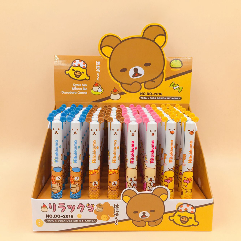 Pens, Pencils & Writing Supplies Discreet 48pcs/lot Creative Cute Bear Rilakkuma Ballpoint Pen 2 Color Blue Red Roller Ball Pens Office School Supplies Promotion Gift Ample Supply And Prompt Delivery