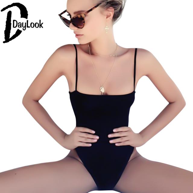 DayLook Sexy Spaghetti Strap Bodycon Jumpsuit Mulheres Bodysuit Sólida Casuais Simples ajustável Cinta Colete Bodysuit Plus Size SM