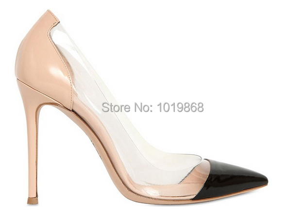 Cheap price discount cap-toe pump pointed toe color block PVC high heels  women party pumps 100mm