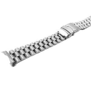 Image 4 - Rolamy 20 22mm srebrny Hollow zakrzywiony koniec solidne ogniwa wymiana Watch Band bransoletka z paskiem podwójne zapięcie Push dla Seiko