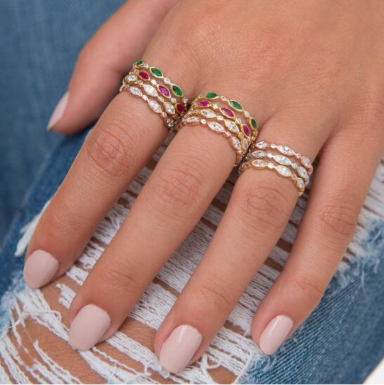 Top Quality Gold FASHION Classical CZ Wedding Ring Rose Gold Color AAA cubic zirconia Crystals rings Wholesale