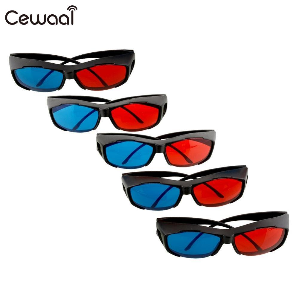 Cewaal 5pcs Virtual Reality Red Blue 3D Glasses Frame For Dimensional Movie DVD Juegos Game Theatre Projects Accessories