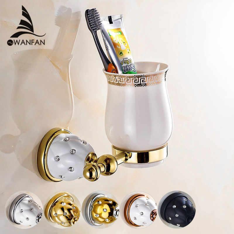 כוס מחזיקת אירופאי סגנון זהב נחושת מברשת שיניים קיר רכוב אמבטיה מוצר מברשת שיניים מחזיק קרמיקה כוס אמבטיה set5202