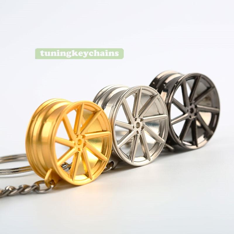 New Alloy Car Auto Wheel Rim Mini Keychain Key Chain Keyring Pendent CVT Design creative design mini tools key chain hammer metal keychain