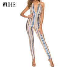 WUHE Womens Color Striped Sequins Strapless Backless Skinny Jumpsuits New Arrival Sleeveless Summer Reflective Occasion Wear