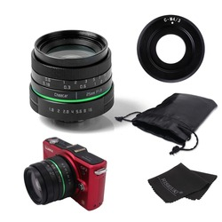 New green circle 25mm CCTV camera lens   For Olympus with c- m4/3 adapter ring +bag +gift