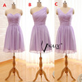2015 Cheap One Shoulder Light Purple Pleated Chiffon Short Knee Length Bridesmaid Dresses Party Gowns Custom Made B79