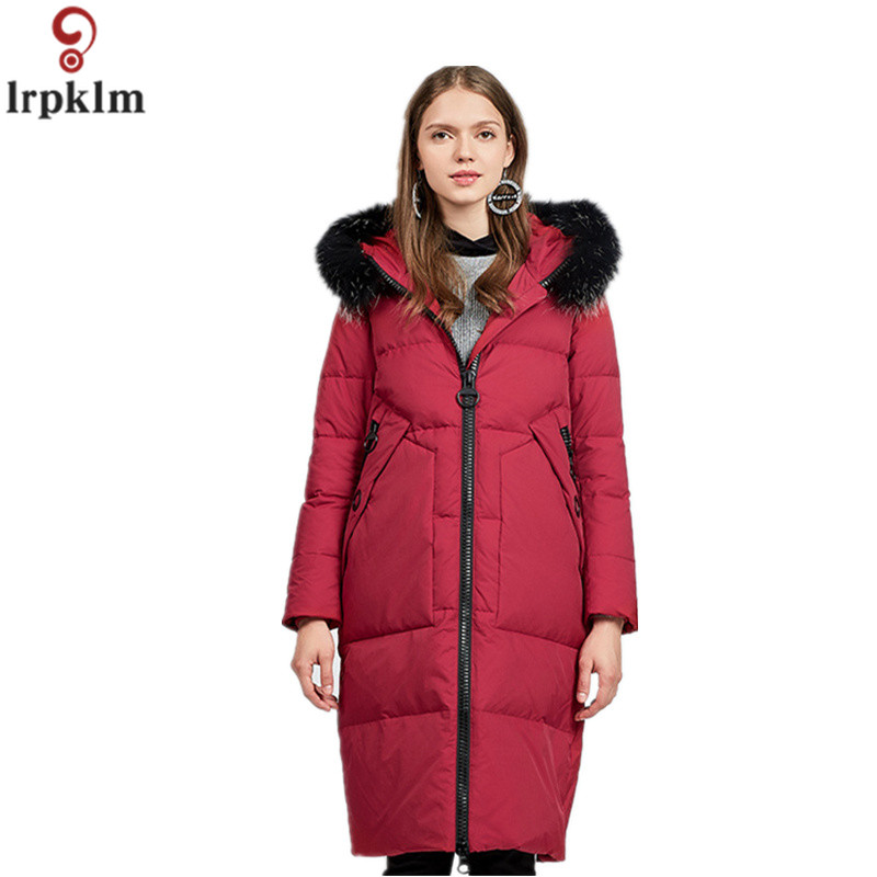 Down     Coat   Womens Winter Long   Down   Jackets 2018 Plus Size Thick Parkas Female Grey Duck   Down   Big Fur Collar Hooded   Coats   CH589